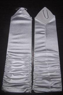 Атласные перчатки со сборкой на один пальчик для подростков. Белые