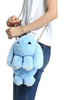Сумка рюкзак зайка (кролик) из натурального меха. Голубой