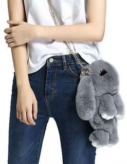 Сумка рюкзак зайка (кролик) из натурального меха. Серый