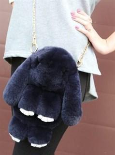 Сумка рюкзак зайка (кролик) из натурального меха. Темно-серый