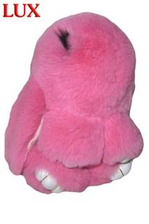 Люкс 18см. Розовый. Брелок зайка (кролик) из натурального меха с ресницами