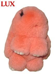 Люкс 18 см. Персиковый. Брелок зайка (кролик) из натурального меха с ресничками