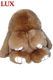 Люкс 18 см. Бежевый. Брелок зайка (кролик) из натурального меха с ресничками