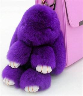 22см. Фиолетовый. Брелок зайка (кролик) из натурального меха