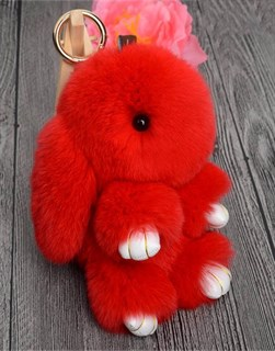 22см. Красный. Брелок зайка (кролик) из натурального меха