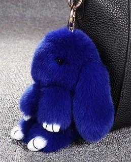 22см. Синий. Брелок зайка (кролик) из натурального меха