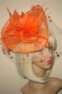 Оранжевая шляпка Лора с вуалью