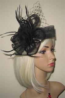 Черная плетеная шляпка с вуалью Ванесса