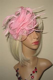 Бант из синамей с вуалью Ванесса. Розовый