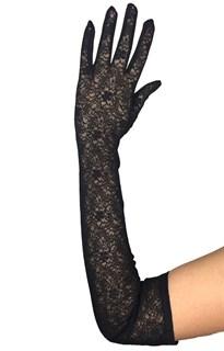 Длинные перчатки из трикотажа с кружевом. Черные