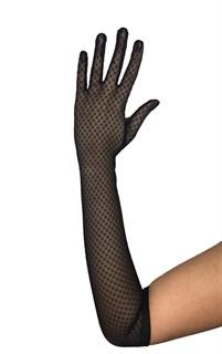 Длинные перчатки из сетки с горошком