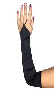 Длинные атласные перчатки на один палец. Черные