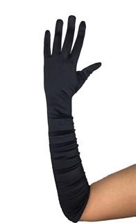 Черные атласные перчатки со сборкой до локтя
