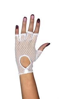 Короткие перчатки в горошек на клепке без пальцев. Белые
