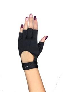 Короткие перчатки из сатина без пальцев на кнопке