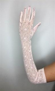 Длинные перчатки из трикотажа с кружевом. Розовые