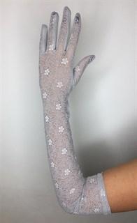 Длинные перчатки из трикотажа с кружевом. Серые