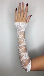 Длинные гипюровые перчатки митенки с рюшами. Белые