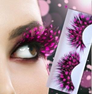 Ресницы перьевые черные в розовый горох