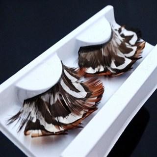 Ресницы перьевые коричневые с рисунком