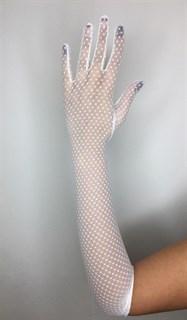 """Длинные перчатки из сетки """"мушка"""". Белые"""
