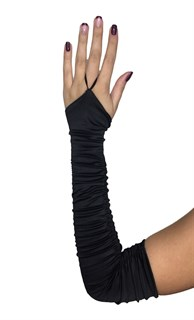 Длинные атласные перчатки со сборкой на один палец. Черные