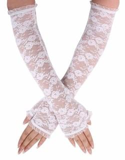 Длинные перчатки гипюр без пальцев. Белые
