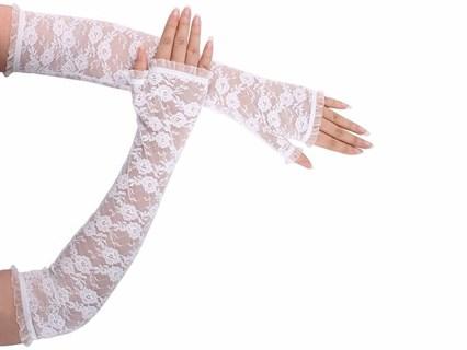 Длинные перчатки гипюр без пальцев. Белые - фото 13499
