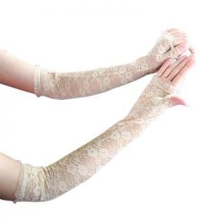 Длинные перчатки гипюр без пальцев. Айвори