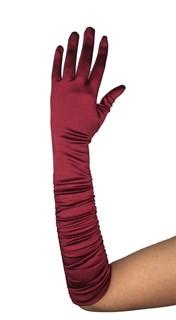 Атласные перчатки со сборкой до локтя.  Бордовые