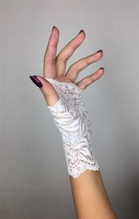 Короткие кружевные перчатки митенки. Белые - фото 13517