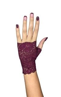 Короткие кружевные перчатки митенки. Бордо