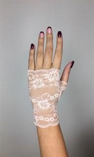 Короткие кружевные перчатки митенки. Светло-розовые