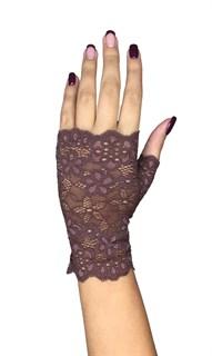 Короткие кружевные перчатки митенки. Мокко