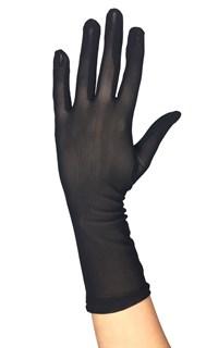 Короткие перчатки. Мелкая сетка. Черные