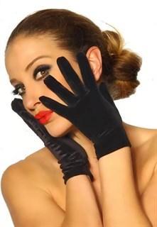 Короткие черные перчатки велюр