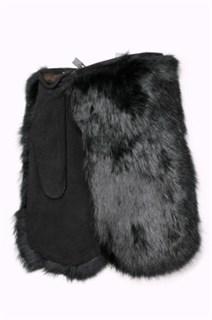 Варежки из меха кролика. Черные
