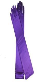 Длинные атласные фиолетовые перчатки. 50 см