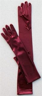 Длинные атласные перчатки цвета марсала. 50 и 55 см - фото 13891