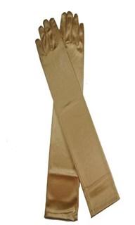 Длинные атласные золотые перчатки. 50 см