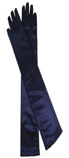Длинные атласные темно-синие перчатки. 50 см