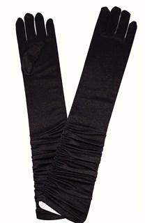 Атласные детские перчатки со сборкой. 8-13лет. Черные