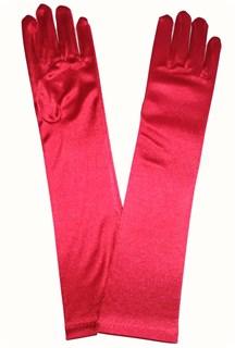 Атласные детские перчатки. 3-7 лет. Красные