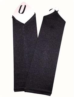 Атласные детские перчатки без пальцев. 8-13 лет. Черные