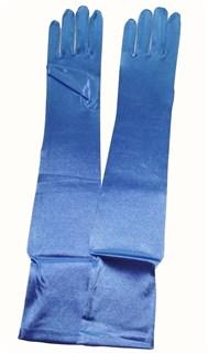 Длинные голубые атласные перчатки.