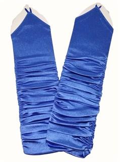 Длинные атласные перчатки со сборкой на один палец. Голубые