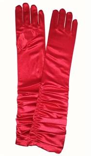 Красные. Атласные перчатки со сборкой до локтя.