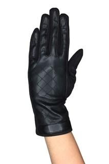 Сенсорные короткие перчатки экокожа и экозамша. Черные