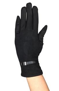 Сенсорные короткие перчатки с эфектом замши. Черные