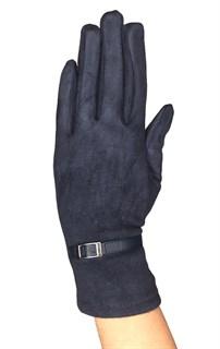 короткие темно-синие сенсорные перчатки замша фото